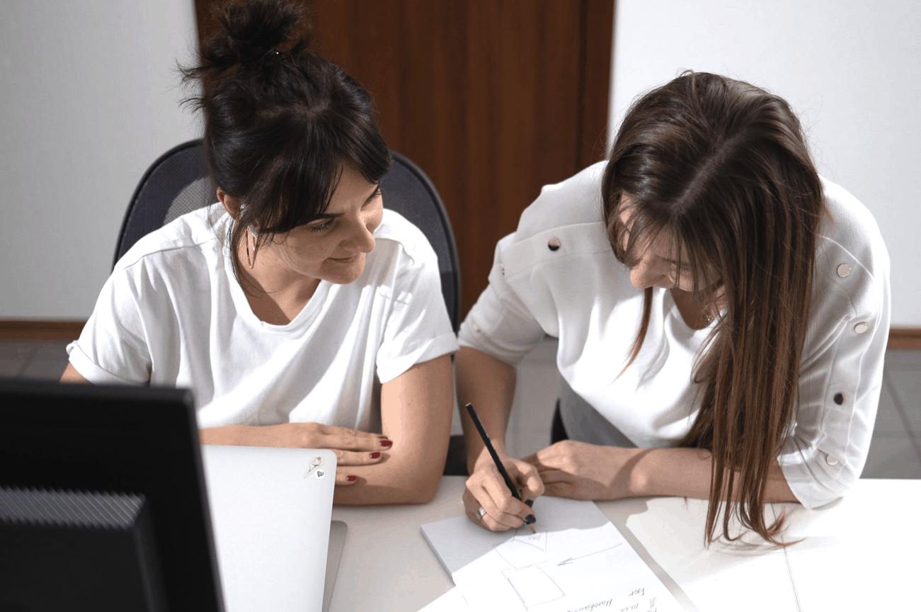 copywriter and designer at work