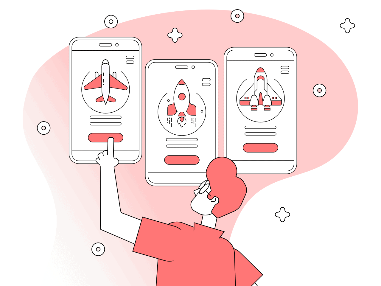launching a startup on a tight budget: a person choosing a mobile app platform