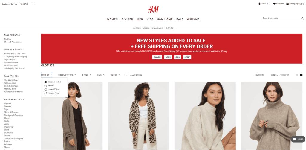 H&M Category Page inspiration