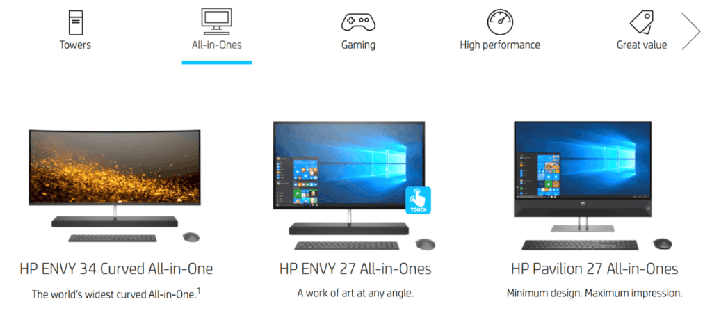 Hewlett Packard example category page design