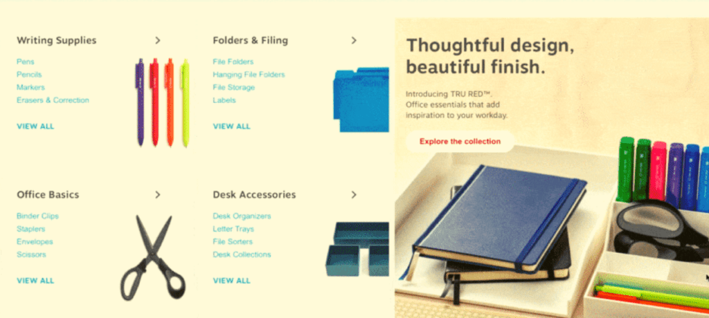 Staples product category page design example